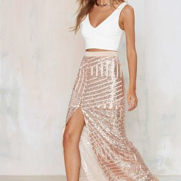 Tiger Mist Girl Around Town Sequin Skirt - Blush