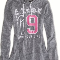 AEO Women's Graphic Hoodie T-shirt (Heather Grey)