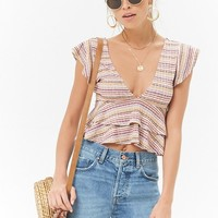 Striped Flounce-Hem Top
