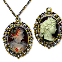 Cameo Necklace Classic Victorian Image Reproduction Glass Tile Pendant Necklace Double Sided Cameo Necklace