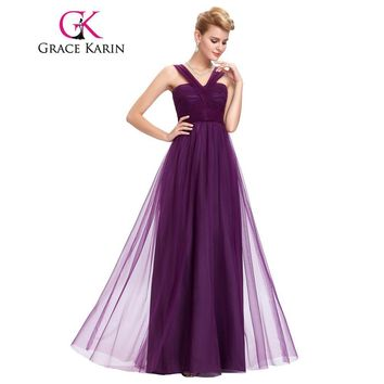 Long Bridesmaid Dresses summer sexy v neck Ruching bodice formal gowns 2017 Wedding Party special occasion Dress Grace Karin