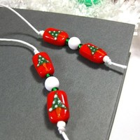 Holiday Bookmark, Handmade Book Thong, Red Beads with Christmas Trees