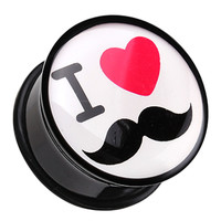 'I Heart Mustache' Single Flared Ear Gauge Plug