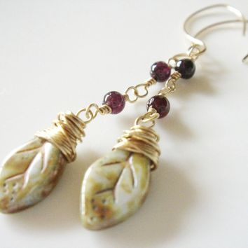 14K Gold Filled Garnet and Czech Glass Earrings - Handmade Crafts by Enchanting Jewel
