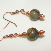 Green Jasper and Copper Earrings by 3cedarsjewelry on Etsy