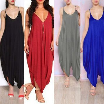 VONE2B5 HotCasual Women NEW V-neck All In One Beach Harem Jumpsuit Romper Playsuit Pants