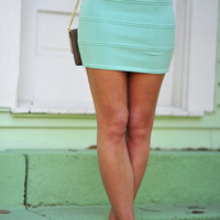 Pop Of Color Stretch Skirt: Mint | Hope's