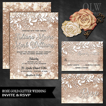 Rose Gold Wedding Invitation, RSVP Card, Rose Gold Wedding Set, Sparkle Wedding Set, Metallic Glitter Invite, Rose Gold, Rose Gold Invite
