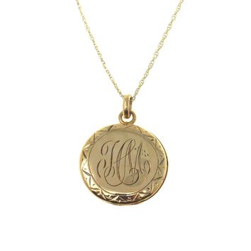 Victorian Locket Necklace Solid Gold, Victorian, 1830s to 1900s
