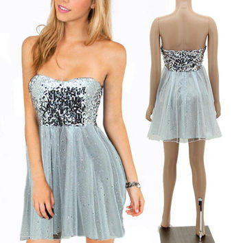 New Masquerade Prom Short Mini Gowns Party Formal Evening Sequin Dress Silver A190