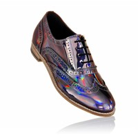 LADY'S BROGUE SHOES WITH HOLOGRAPHIC FINISH