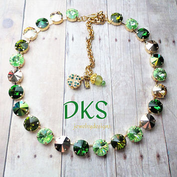 Rainbows End, Swarovski 12mm Necklace,St Patricks Day Green, Gold, Irish Bridal, DKSJewelrydesigns, FREE SHIPPING