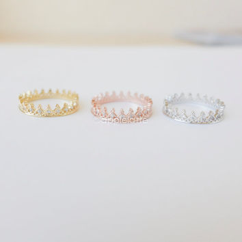 crown ring in gold/ silver/ rose gold, princess crown ring, gold tiara ring, silver crown ring, gold crown ring, pink princess crown ring
