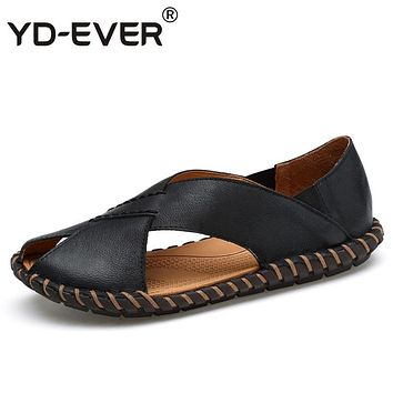 YD-EVER 100% genuine leather men sandals handmade Summer fashion brand beach slippers casual moccasin Handmade outdoor 2076