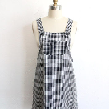 Vintage 80s Black & White Gingham Bib Dress // Short Mini Overall Dress
