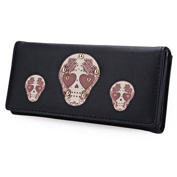 Hip Hop 2016 Fashion Skull Women Wallet 7 Colors Cartoon Lovely Long Wallet PU Leather Purse Credit Card Holder Money Bag