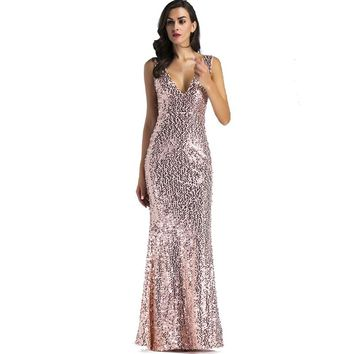 Sexy Spaghetti Strap Women V Neck Sequins Dress Backless Floor Length Long Luxury Club Party Dresses Maxi Vestidos