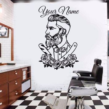 Barber Shop Wall Decal Tattoo Hipster Personalized Name Wall Sticker Man Salon Decals Barber Shop Removable Window Poster AY0165