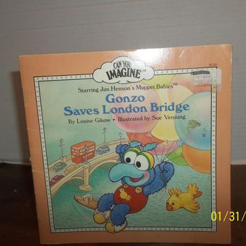 vintage 1986 jim henson's muppet babies gonzo saves london bridge book