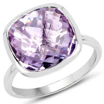 5.30 Carat Genuine Amethyst .925 Sterling Silver Ring