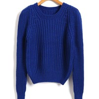 Cropped Chunky Knitted Jumper in Blue