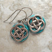 celtic knot earrings: light blue - dangle earrings - irish earrings - celtic jewelry - endless knot - unique gift - mothers day