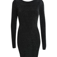 Christina Long Sleeve Lurex Cowl Back Bodycon Dress in Black