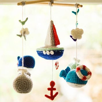 Whale baby crochet crib mobile Sea mobile Sailboat mobile Nautical baby mobile Ocean mobile Sea animals Nautical nursery Whale nursery decor