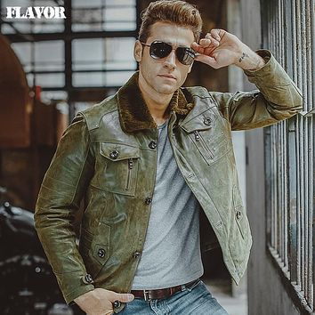Men's green real leather jacket Genuine Leather jackets warm padding cotton fur collar coat men