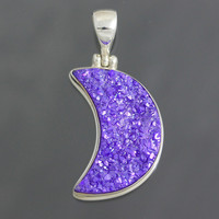 Drusy Pendant, Crescent Moon Purple Druzy in Sterling Silver