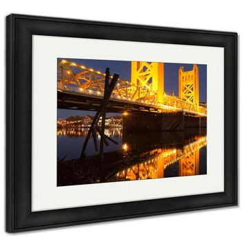 Framed Print, Tower Bridge Sacramento River Capital City California Downtown Skyline