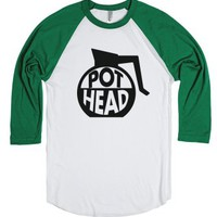 Coffee Pot Head-Unisex White/Evergreen T-Shirt