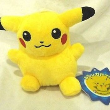 "POKEMON PIKACHU 6"" Stuffed Animal Plush Toy with String Suction Cup -New w/Tags"