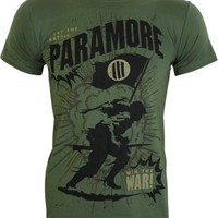 Paramore Minefield Men's Green Slim Fit T-Shirt - Offical Band Merch - Buy Online at Grindstore.com