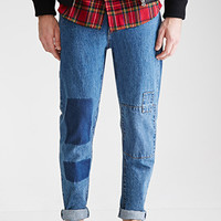 Medium Wash - Slim Fit Patchwork Jeans