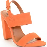Strappy Slingback Buckled Open Toe Chunky Heels