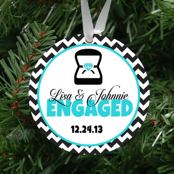 Personalized Engagement Ornament Keepsake - Custom Made to Order