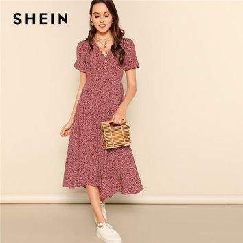 Button Front Floral Print Short Sleeve Fit and Flare Dress