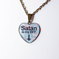 Satan Is My Best Friend Forever (BFF) On Retro Floral Fantasy - Handmade Vintage Cameo Pendant Necklace