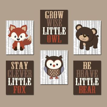 WOODLAND Nursery Wall Art, Woodland Nursery Decor, Carter Forest Animals, Owl Fox Bear Quotes, Canvas or Prints Set of 6, Woodland Baby