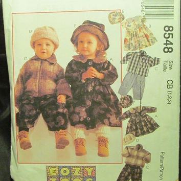 SALE Uncut 1996 McCall's Sewing Pattern, 8548! 1-2-3 Infant/Toddlers/Girls/Boys Cozy Togs Unlined Jackets/Dresses/Pants/Caps/Hats/Tops/Fall