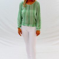 Emerald Breezy Back Chevron Blouse - Always a Runway Clothing