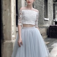 Lace Tulle Off-the-Shoulder Homecoming Dress