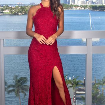 Burgundy Lace Maxi Dress with Criss Cross Tie Back