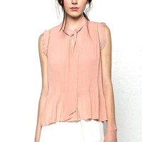 This sleeveless feminine chiffon top features a accordion pleated construction throughout with an around neckline and self-tie pussy bow at the key-hole neckline, semi-sheer crochet lace ladder trimming at shoulders.