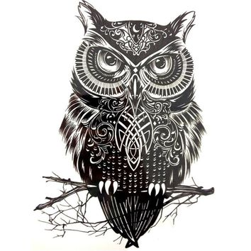 Trendy large temporary tattoo owl tattoos stickers arm back leg body art temporary tattoo decal RP2