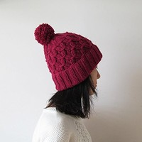 Hand Knitted Hat in Ruby - Beanie with Pom Pom - Seamless - Wool Blend