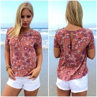 Blooming On The Beach Blouse In Rust