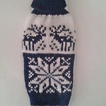 Knit Winter Pattern Dog Sweater. Pet Sweater. Dog Clothes. Dog Dress. Pattern Clothes for Dog. Size S