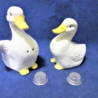 Salt and Pepper Shakers Ducks Porcelain Ceramic Pottery Hand Painted by PorcelainChinaArt